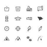 Kamp zwart die pictogram op witte achtergrond wordt geplaatst Royalty-vrije Stock Afbeelding