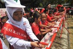 Kampagne des Händewaschens mit Seife Stockfotografie