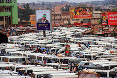 Kampala Central Taxi Park. KAMPALA, UGANDA - SEPTEMBER 28, 2012.  The chaos of the busy and crowded taxi park in downtown Kampala, Uganda on September 28,2012 Royalty Free Stock Photo