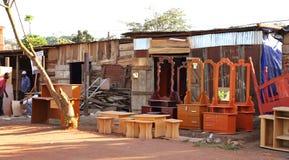 Kampala Road Side Furniture Shop. A road side shop selling different kinds of wooden furniture in Kampala, Uganda stock image