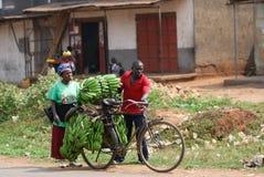Kampala slum, Uganda. KAMPALA, UGANDA - AUG 26: Native people carry bananas by bike to market on Aug 26, 2010 in slum of Kampala, Uganda. Nearly 40% of slum Royalty Free Stock Photography