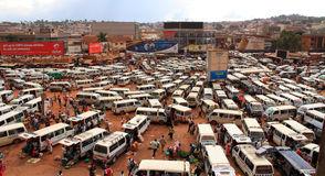 Kampala Taxi Park Panorama. KAMPALA, UGANDA - SEPTEMBER 28, 2012.  The busy and chaotic taxi park on a normal week day in Kampala, Uganda on September 28,2012 Stock Image