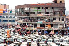 Kampala taxi park with shopping mall, Uganda stock photography