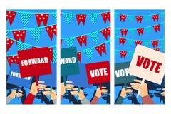 Kampania wyborcza, wybory głosowanie, wybory plakat, trzyma plakaty wektor royalty ilustracja