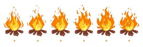 Kampbrand sprites voor animatie stock illustratie