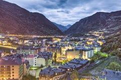 Kampeer luchtmening, Andorra stock afbeelding