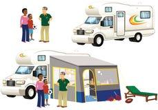 Kampeerautobestelwagen en tenten Royalty-vrije Stock Foto's