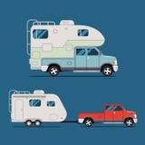 Kampeerautovrachtwagen Stock Foto's