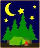 Kampeerterrein bij nacht Royalty-vrije Stock Afbeelding