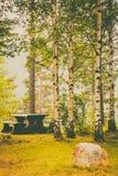 Kampeerterrein met picknicklijst in Noors park Royalty-vrije Stock Fotografie