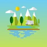 Kampeerterreinplaats in berg Bos het kamperen landschap met reizigerscaravan in vlak ontwerp Stock Illustratie