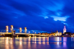 Kampen City Blue Hour. River Bridge in the Historical City of Kampen, Overijssel, Netherlands by Night Royalty Free Stock Photography