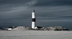 Kampen lighthouse. Infrared. Sylt. Kampen lighthouse. Infrared image Stock Photography