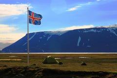Kamperend dichtbij Hvitarnes-hut, IJsland stock foto's