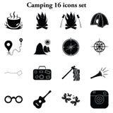 Kamperend 16 eenvoudige geplaatste pictogrammen Stock Fotografie