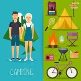 Kamperend en openluchtrecreatieconcept met vlakke het kamperen reis Royalty-vrije Stock Foto