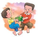 Kampf über Spielzeug Stockfoto