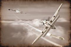 Kampf der Retro- Kampfflugzeugprodukteinführungsrakete im Himmel Lizenzfreies Stockfoto