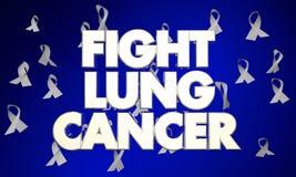 Kampf Lung Cancer Disease Ribbons Words vektor abbildung