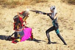 Kampf von zwei Charakteren Stockfotos