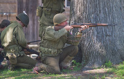 Kampf-Wiederinkraftsetzung des Zweiten Weltkrieges Lizenzfreies Stockfoto