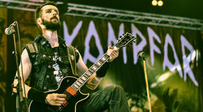 Kampfar heavy black metal band live in concert 2016. Kampfar is a black metal band from Fredrikstad, Norway. According to their singer, Dolk, their name is an Royalty Free Stock Images