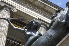 Kampfende Amazone. Statue of `Kampfende Amazone` `Fighting Amazonian Woman` by August Kiss in front of the Altes Museum in Berlin, Germany Stock Photos