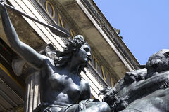 Kampfende Amazone. Statue of `Kampfende Amazone` `Fighting Amazonian Woman` by August Kiss in front of the Altes Museum in Berlin, Germany Royalty Free Stock Photos