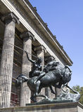 Kampfende Amazone. Statue of `Kampfende Amazone` `Fighting Amazonian Woman` by August Kiss in front of the Altes Museum in Berlin, Germany Royalty Free Stock Image