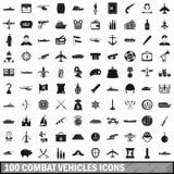100 Kampffahrzeugikonen eingestellt, einfache Art Stockbilder