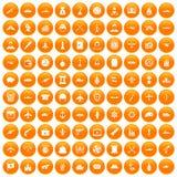 100 Kampffahrzeugikonen orange eingestellt vektor abbildung