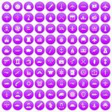 100 Kampffahrzeugikonen purpurrot eingestellt vektor abbildung