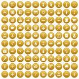 100 Kampffahrzeugikonen stellten Gold ein vektor abbildung