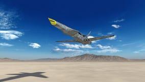 Kampfflugzeug, das futuristische Militärflugzeug, das über eine Wüste mit blauem Himmel im Hintergrund, Ansicht von unten fliegt, stock abbildung