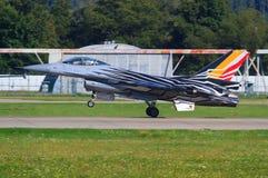Kampfflugzeug F16 der belgischen Luftwaffe Lizenzfreies Stockfoto