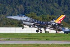 Kampfflugzeug F16 der belgischen Luftwaffe Lizenzfreie Stockbilder