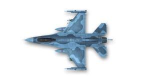 Kampfflugzeug, Militärflugzeug auf weißem Hintergrund, Draufsicht Stockfotografie
