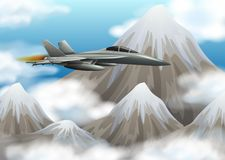 Kampfjet, der über den Berg fliegt stock abbildung