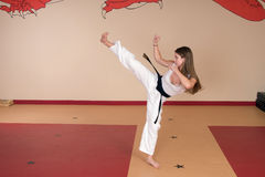 Kampfkunst-Frau Stockfotos