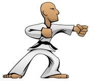 Kampfkunst-Karate Guy Cartoon Vector Color Illustration stock abbildung
