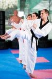 Kampfkunstsporttraining in der Gymnastik stockbilder