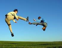 Kampfmann mit zwei Fliegen Stockbild