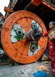 Kampfwagen von Prozession Regen Rato Machhindranath in Patan, Nepal Stockfotos