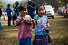 KAMPHAENGPHET, THAILAND - January 08, 2014 All ethnic group in Thailand very poor but has beautiful culture, These Children`s. Karen very cute and innocent stock photos