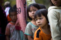 KAMPHAENGPHET, THAILAND - January 08, 2014 All ethnic group in Thailand very poor but has beautiful culture, These Children`s. Karen very cute and innocent stock photo