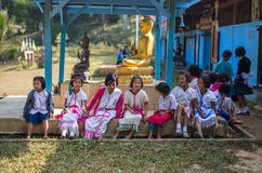 KAMPHAENGPHET, THAILAND - January 08, 2014 All ethnic group in Thailand very poor but has beautiful culture, These Children`s. Karen very cute and innocent stock photography