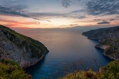 Kampi, место для самого красивого захода солнца в острове Закинфа Заход солнца временени в Zante Стоковое фото RF
