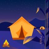 Kampieren in der Nacht auf dem Berg nave landschaft Auch im corel abgehobenen Betrag vektor abbildung