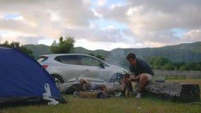 Kampieren in der Natur mit einem Feuer und einem Kerl, die mit einem Hund auf dem Hintergrund einer Landschaft und des Autos spie stock video
