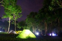 Kampieren in einem Wald Stockfotografie